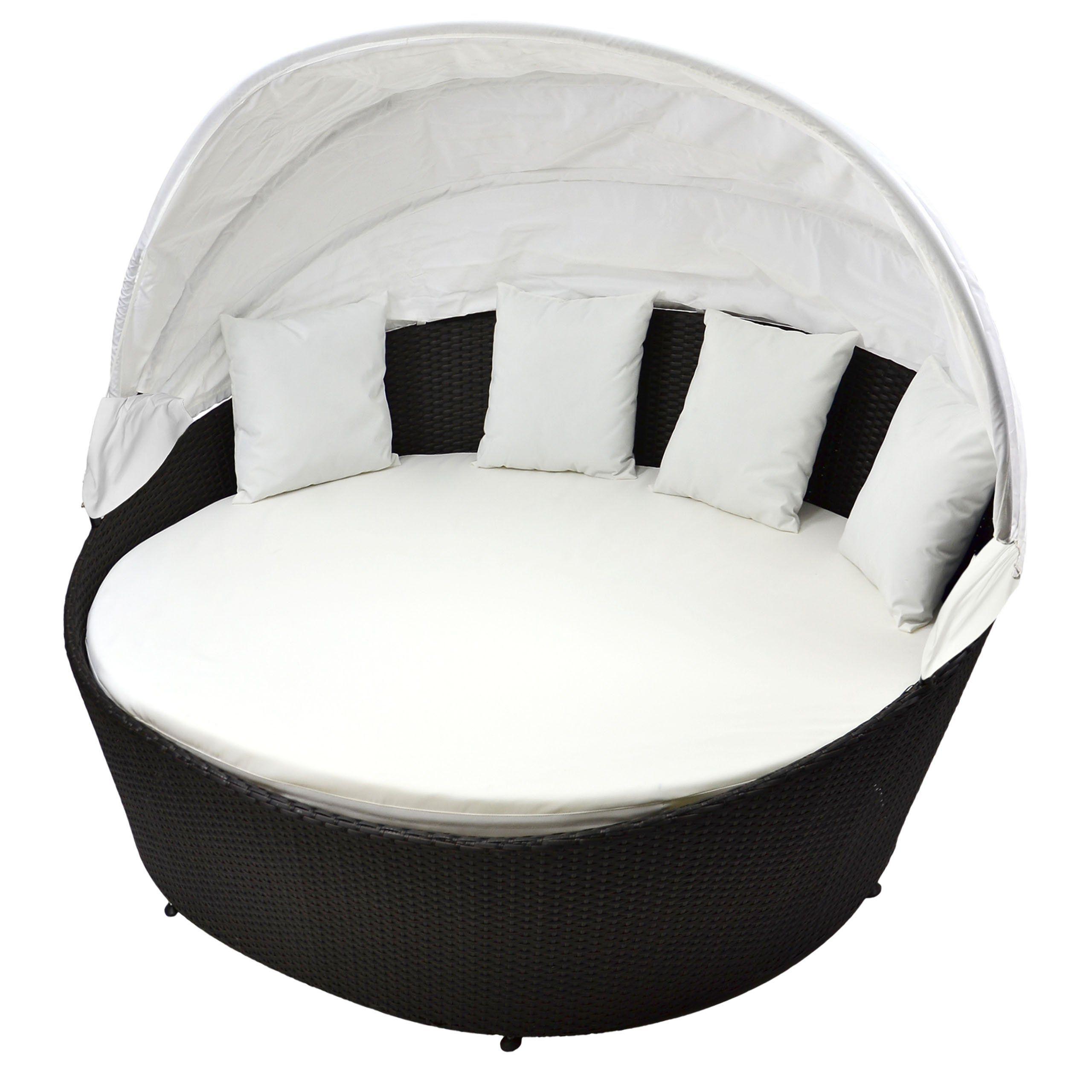 Gartenbett rattan  Sonneninsel creme weiß Rattan-Bett mit aufklappbarem Sonnendach inkl ...