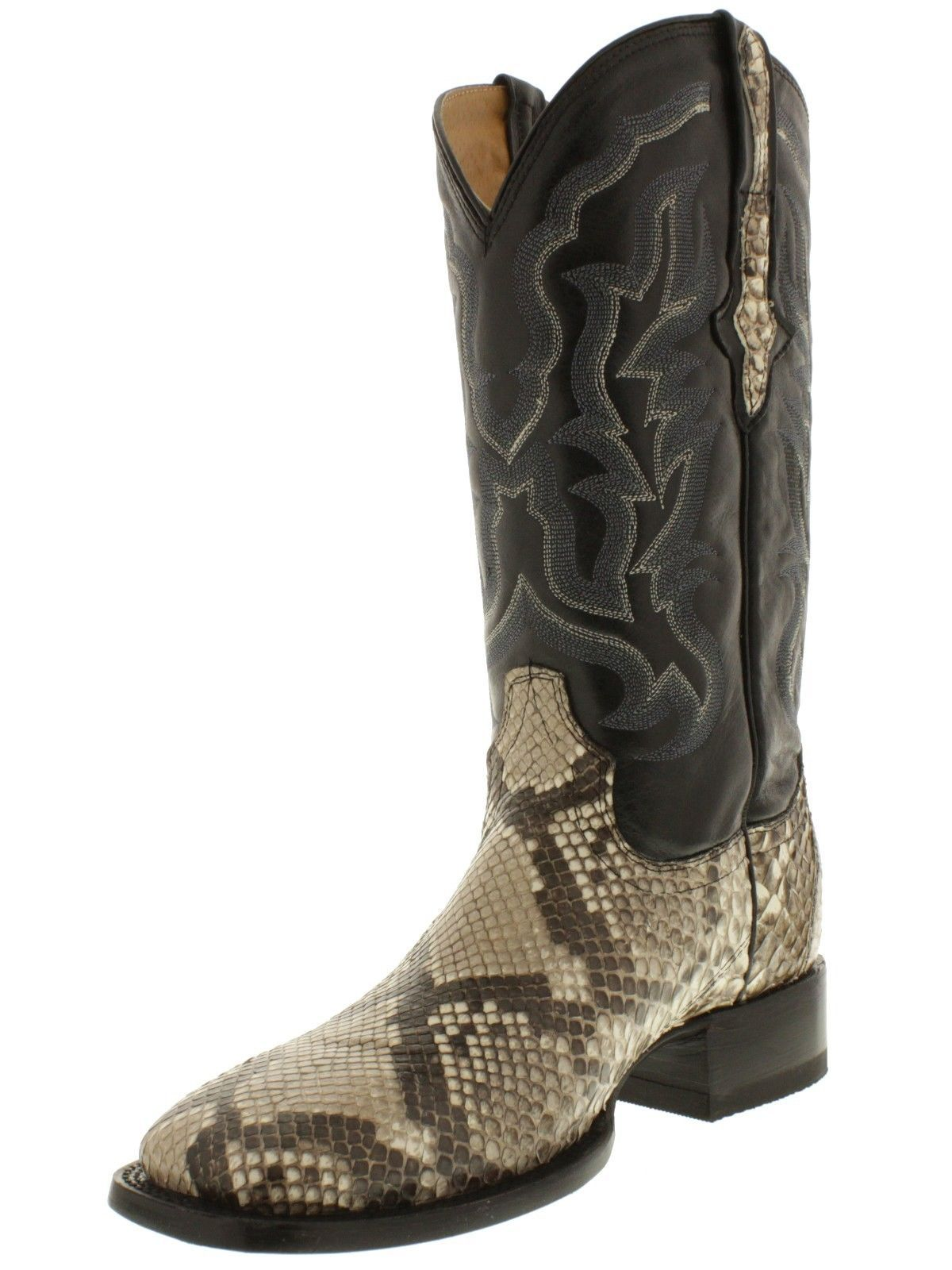 Men/'s Brown Python Snake Design Leather Western Cowboy Boots Square Toe
