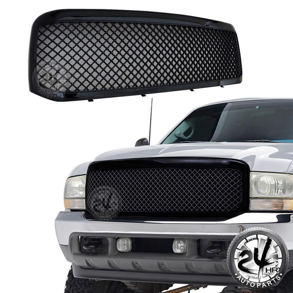 99 04 ford super duty abs black mesh packaged replacement grille grill w shell