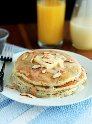Almond Poppyseed Pancakes with Almond Syrup