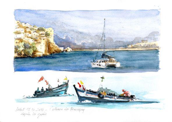 Lami Gérard-L'estuaire et les pêcheurs du Bouregreg à Rabat (maroc) (aquarelle)