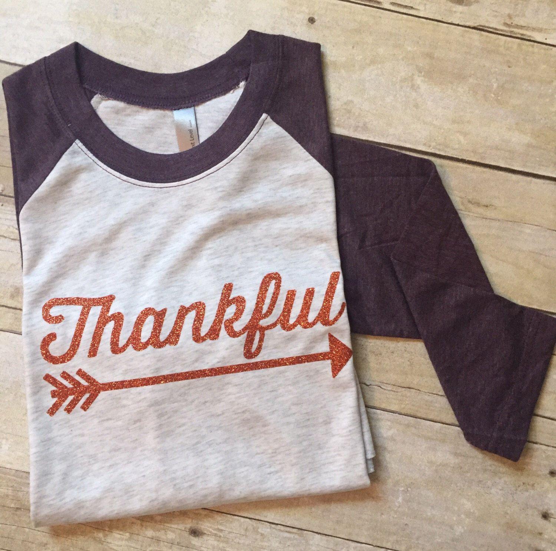 c8807e8a3ce2c Thanksgiving shirt. Fall Shirts for women. Women s glitter Thankful Raglan  Tee. Women s sparkle