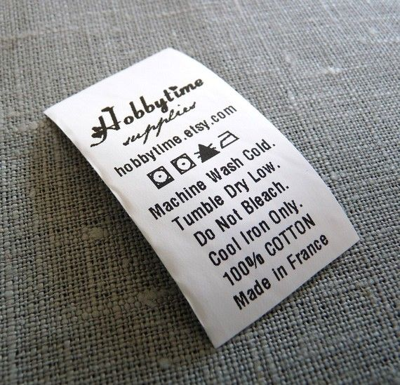 300 Custom Fabric Labels Care Label Black Printed On By