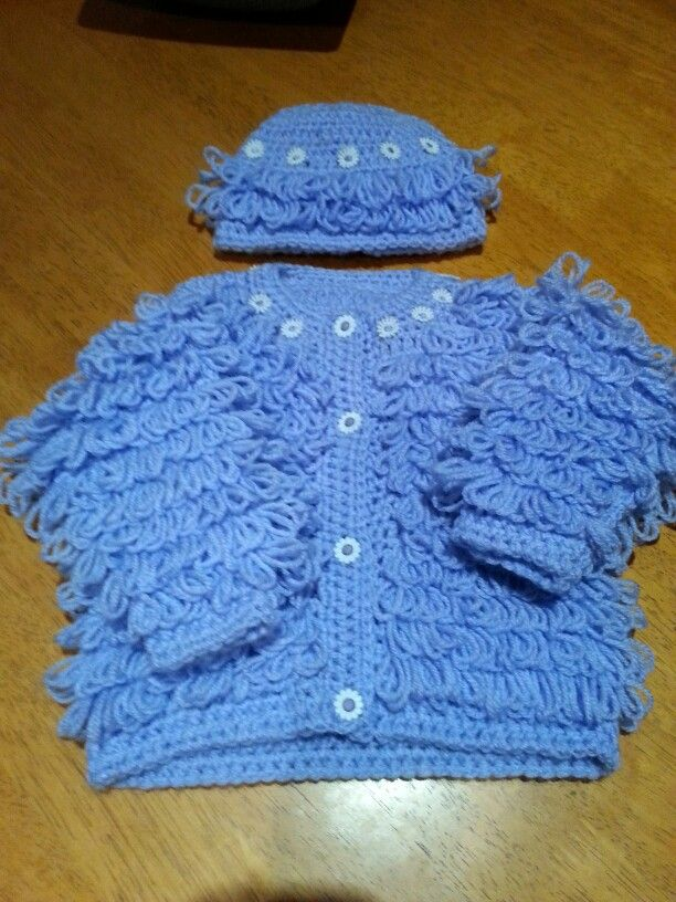 Baby girls crochet loopy jacket and hat set . 0-3 months