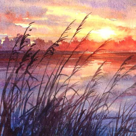 Beautiful Sunset Varvara Harmon Original Watercolor Painting