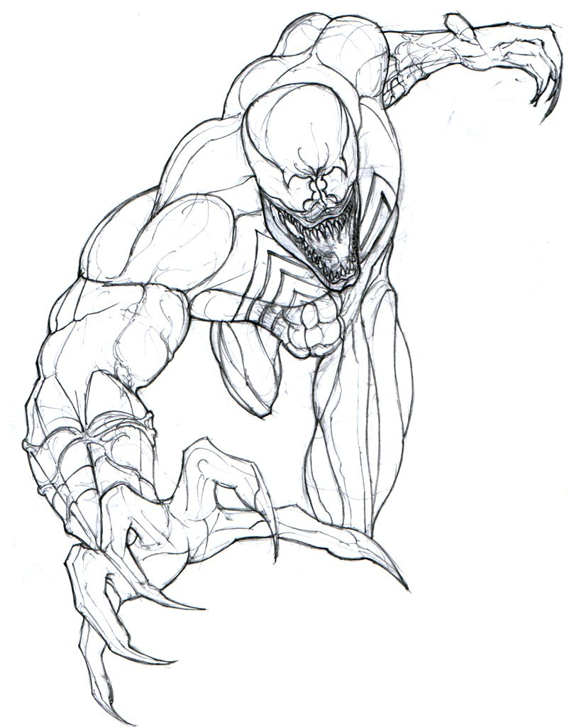 Venom Spider Man Coloring Pages Sketches