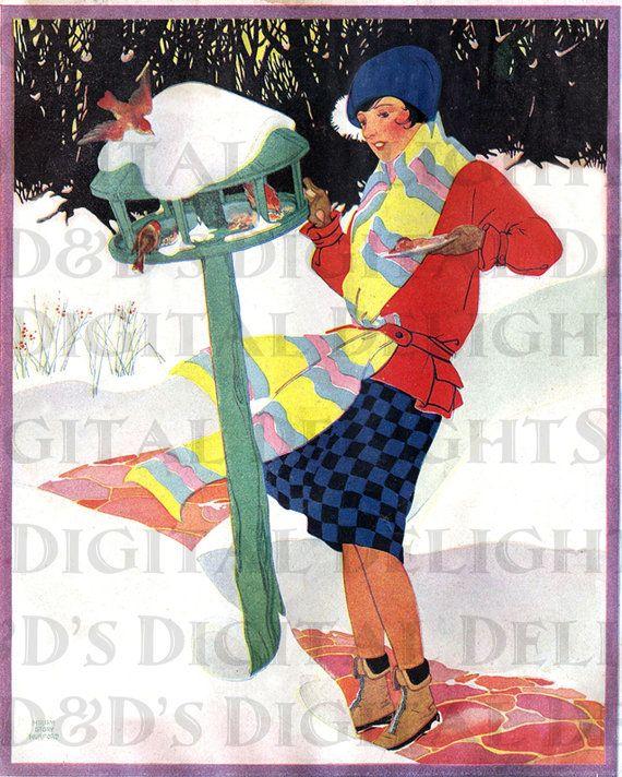 Nutrire gli uccelli in inverno -.  Illustrazione d'epoca.