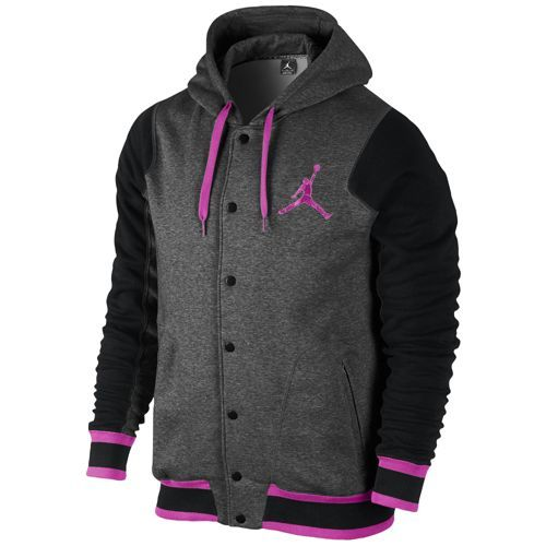 Nike Air Jordan The Varsity 2.0 Grey Black Pink Hoody Jacket
