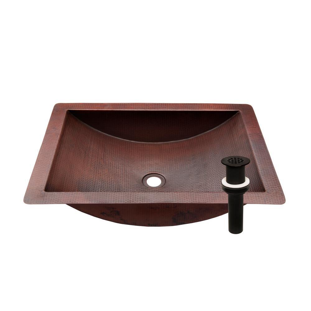 Novatto Merida Copper Bathroom Sink In Antique Copper And Oil
