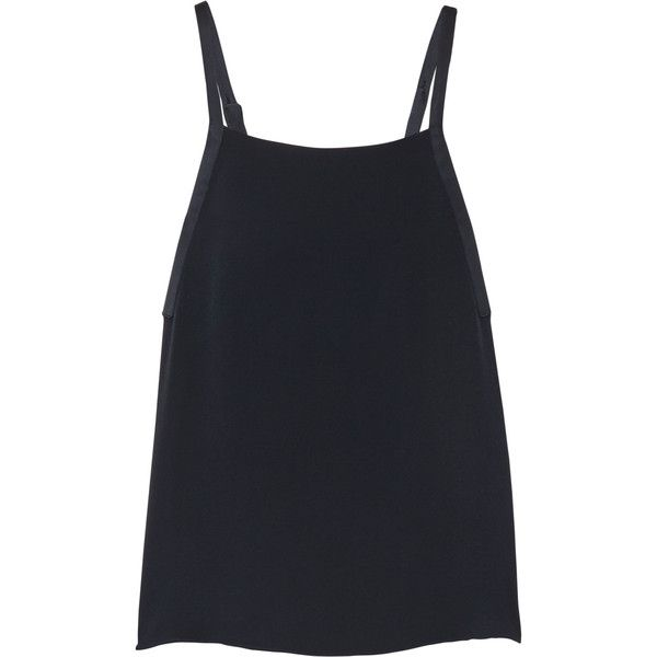 Adam Lippes Satin-trimmed crepe tank (355 CAD) ❤ liked on Polyvore featuring