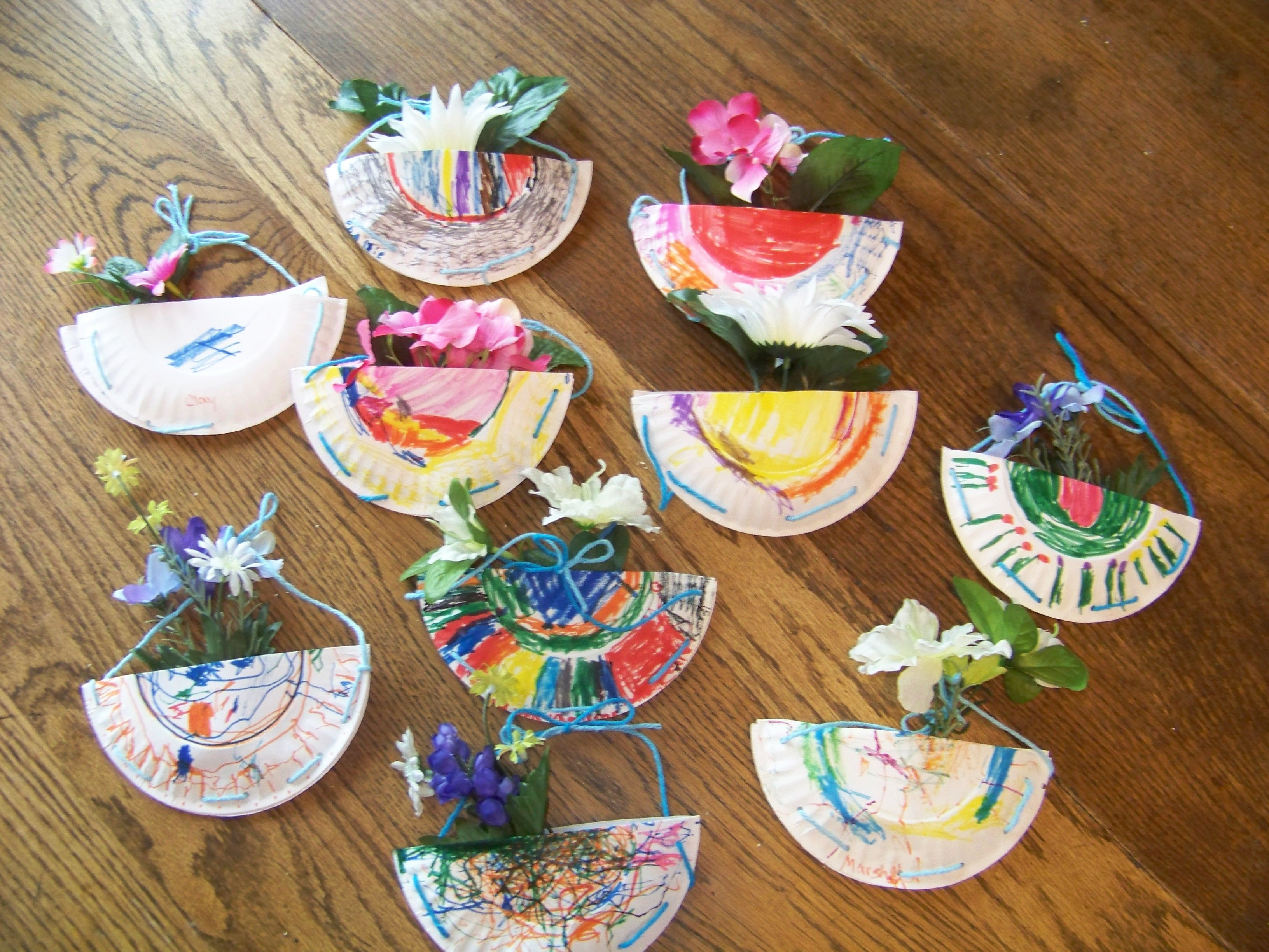 Fake flowers for crafts - May Day Flower Baskets Kids Craft Paper Plate Markers Yarn Tape