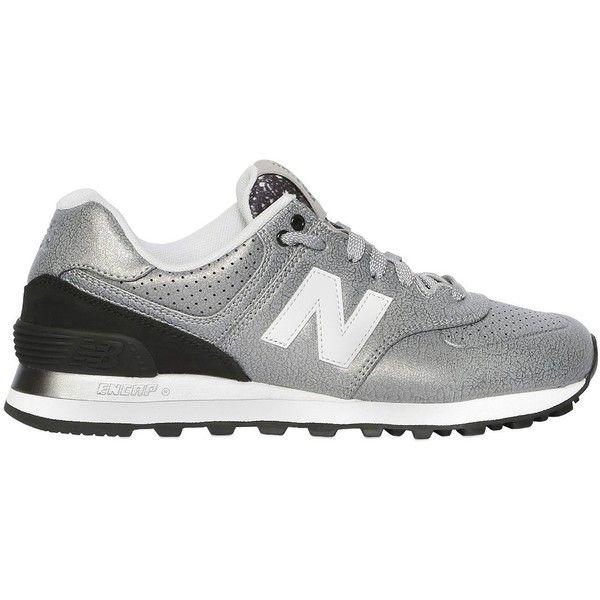 new balance 574 silver metallic trainers