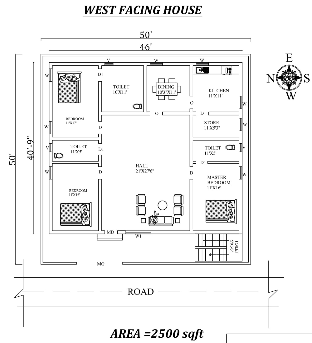 50 X50 Fully furnished west Facing 3BHk House Plan As Per Vasthu Shastra Autocad DWG and Pdf file details