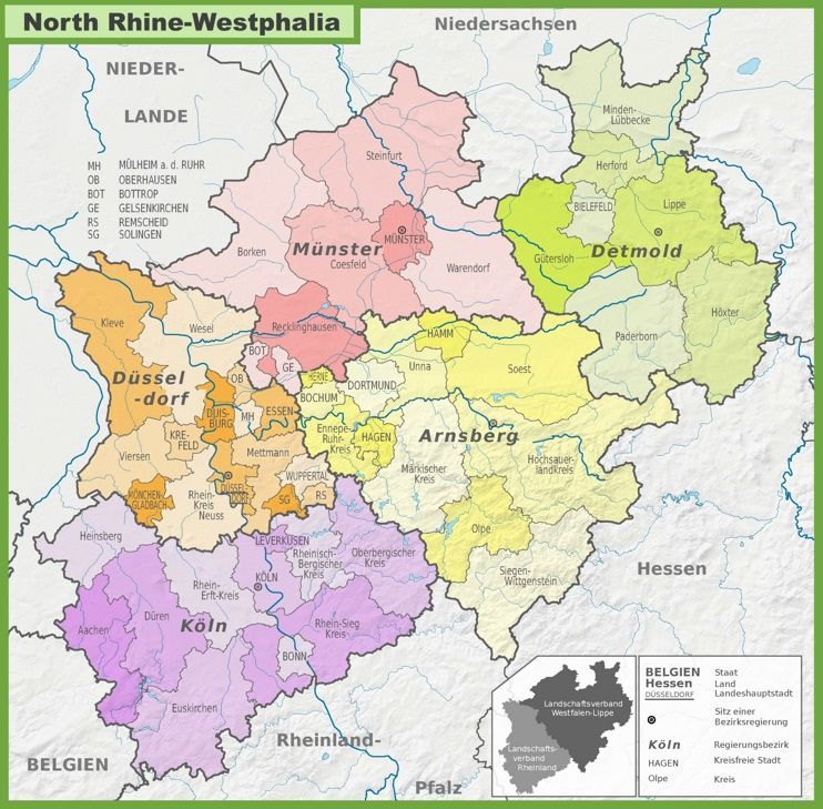 Administrative Divisions Map Of North Rhine Westphalia Germany Map Map Administrative Division