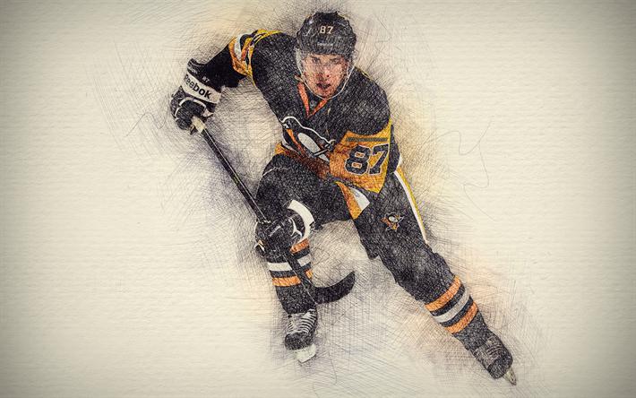 Download Wallpapers Sidney Crosby 4k Artwork Hockey Stars Pittsburgh Penguins Crosby Nhl Hockey Drawing Sidney Crosby Besthqwallpapers Com Pittsburgh Penguins Pittsburgh Penguins Wallpaper Sidney Crosby