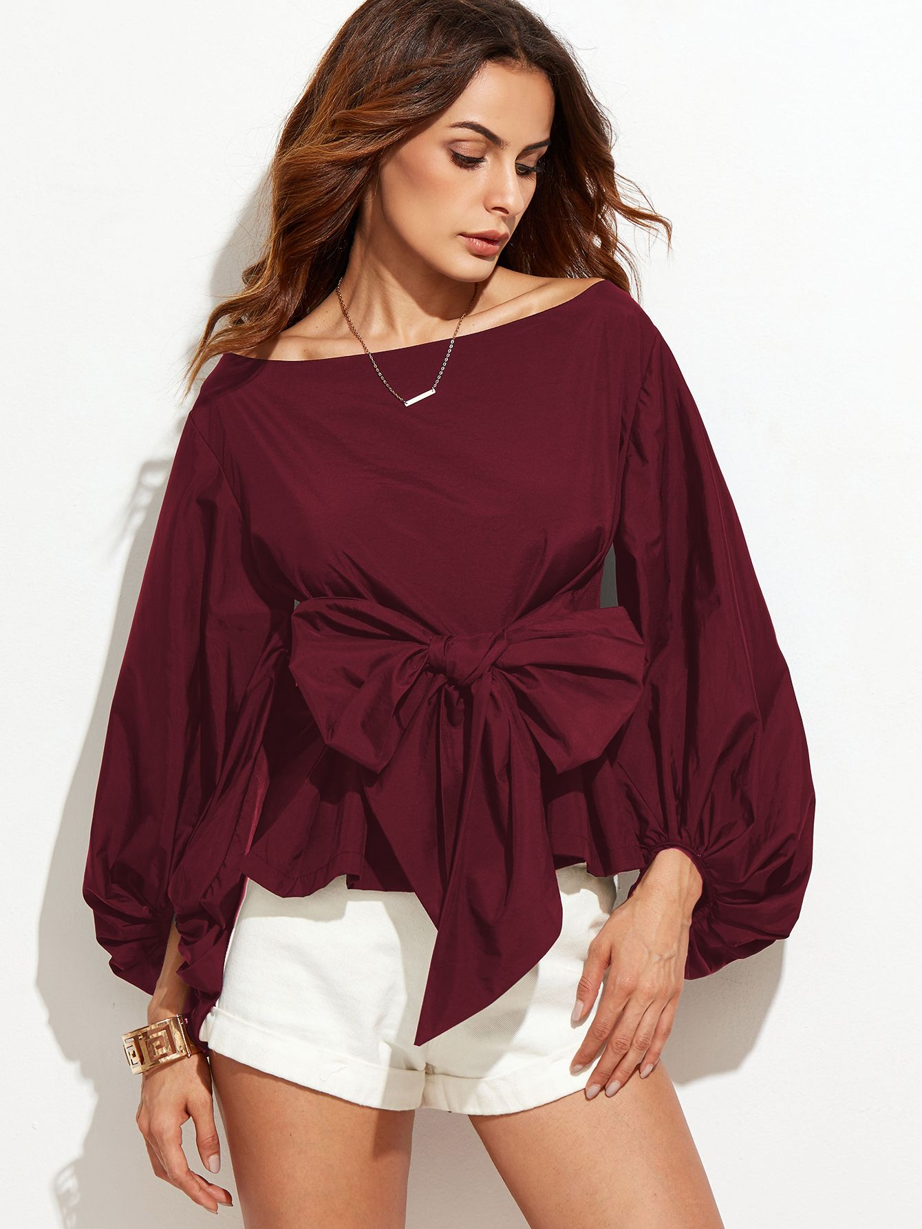c9f88531a6a7a9 Shop Burgundy Boat Neck Lantern Sleeve Bow Tie Top online. SheIn offers  Burgundy Boat Neck Lantern Sleeve Bow Tie Top   more to fit your  fashionable needs.