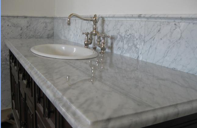 carrera marble countertops - in master bath,bath #2, powder bath