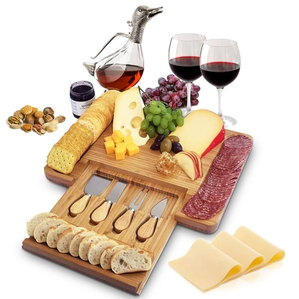 Bamboo Cheese Board and Cutlery Set with Slide-out Drawer #plateaucharcuterieetfromage