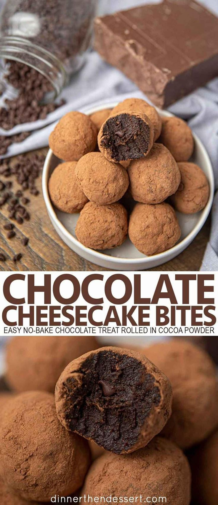 Chocolate cheesecake bites is an easy nobake treat made