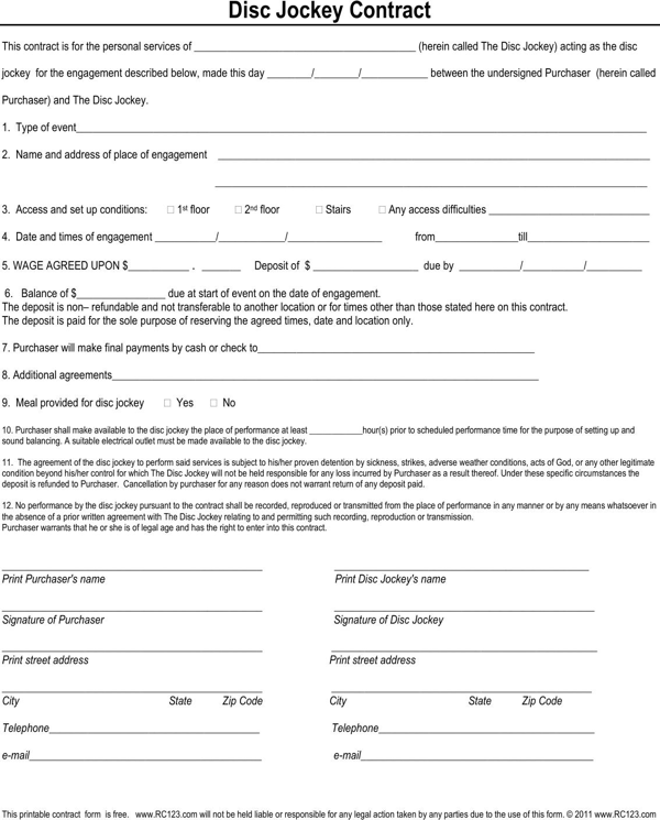 Disc Jockey Contract Form  Ben
