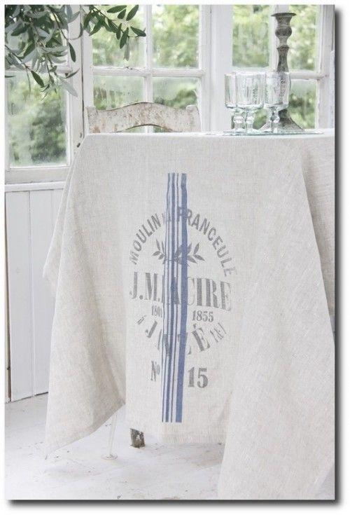 Jeanne DArc Living French Flour Sack Linen Tablecloth 500x735 Jeanne DArc  Living ~ French Flour Sack