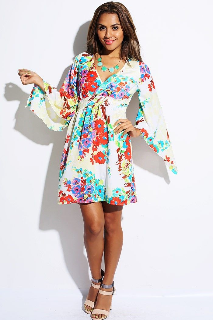 0be384cc2622 #1015store.com #fashion #style blue/red floral print kimono sleeve smocked  waist party mini dress-$20.00