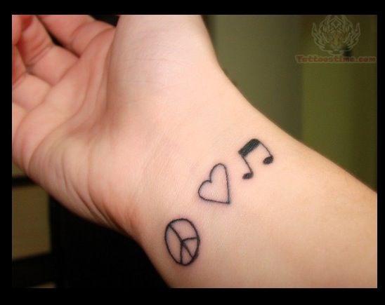 Peace Love And Music Wrist Tattoo Peace Tattoos Wrist Tattoos For Guys Hand Tattoos
