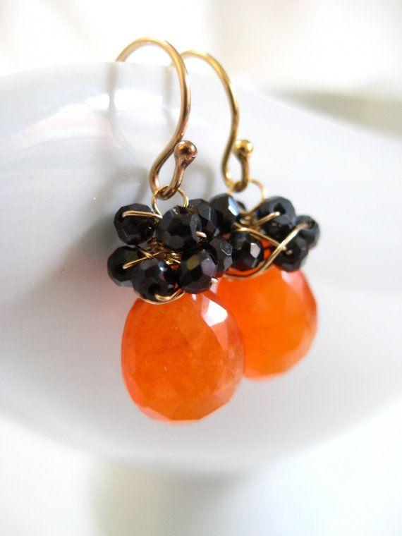 Carnelian Spinel Earrings Wire Wrapped 14k by JewelryBySonjaBlume, $44.75