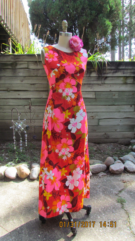 Vintage penneys hawaii souvenir hawaiian maxi dress 60s 70s old vintage hawaiian shirts hibiscus flowers flower dresses maxi dresses pinup etsy izmirmasajfo