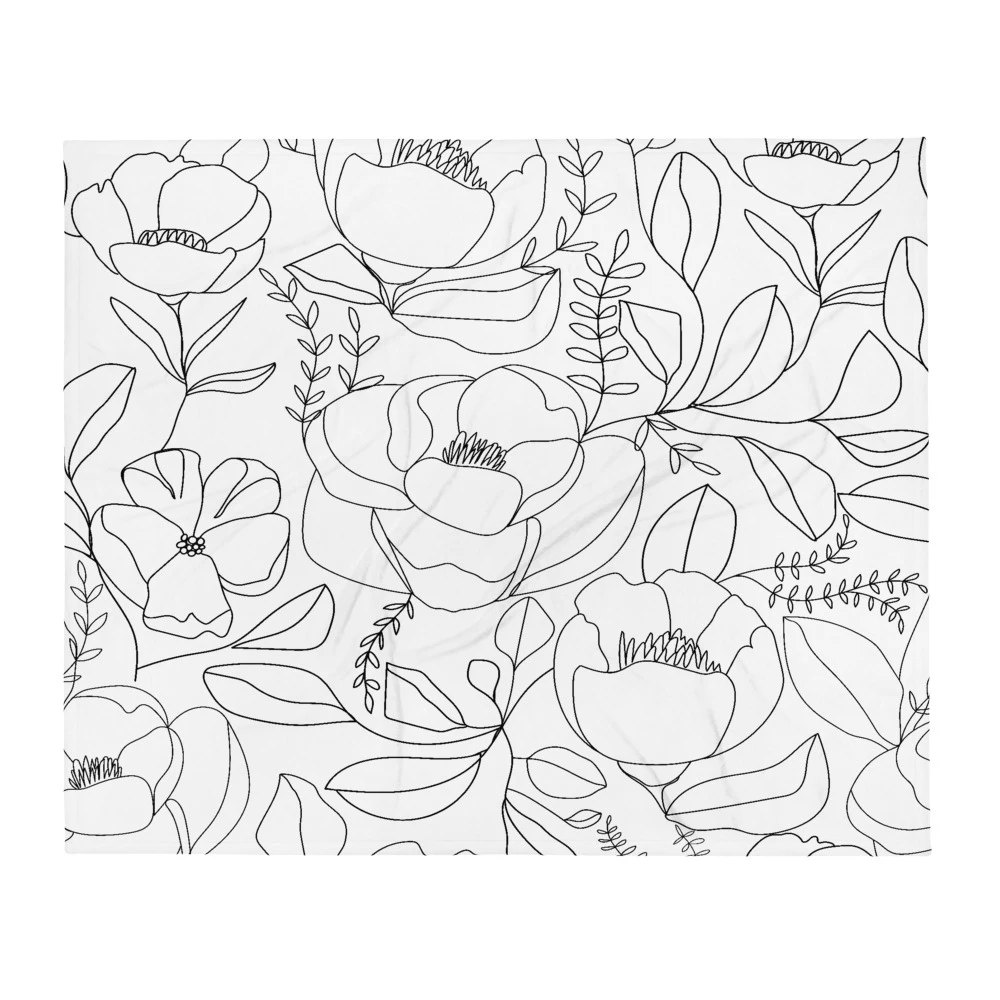 Throw Blanket With Floral Line Art Line Art Floral Print Background Wildflower Drawing
