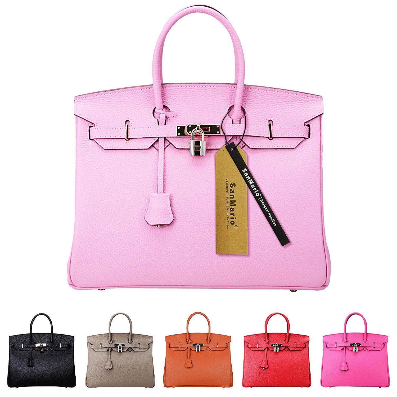 Sanmario Designer Handbag Top Handle Padlock Women S Leather Bag With Silver Hardware