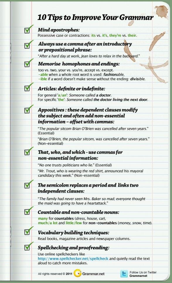 10 Tips to Improve Your Grammar   Grammar   Pinterest   Infographics ...