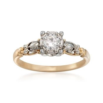 C. 1970 Vintage .30 Carat Diamond Engraved Engagement Ring in Two-Tone. Size 6 | #829141 @ ross-simons.com