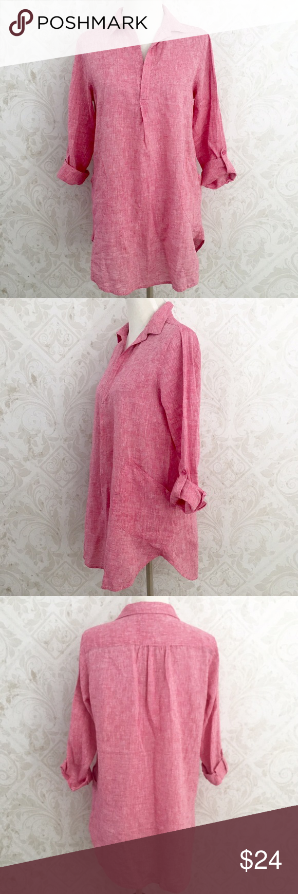 5c91b9e572 Marled red   white linen Forcynthia tunic The perfect summer tunic! Red and white  marled heathered linen fabric. Long sleeves with roll-up tabs.