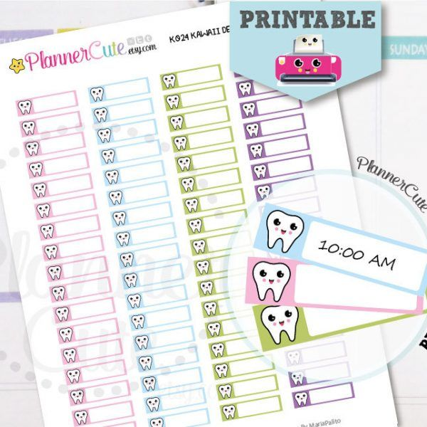 Dentist Stickers Printable Kawaii Sticker Dentist Appointment