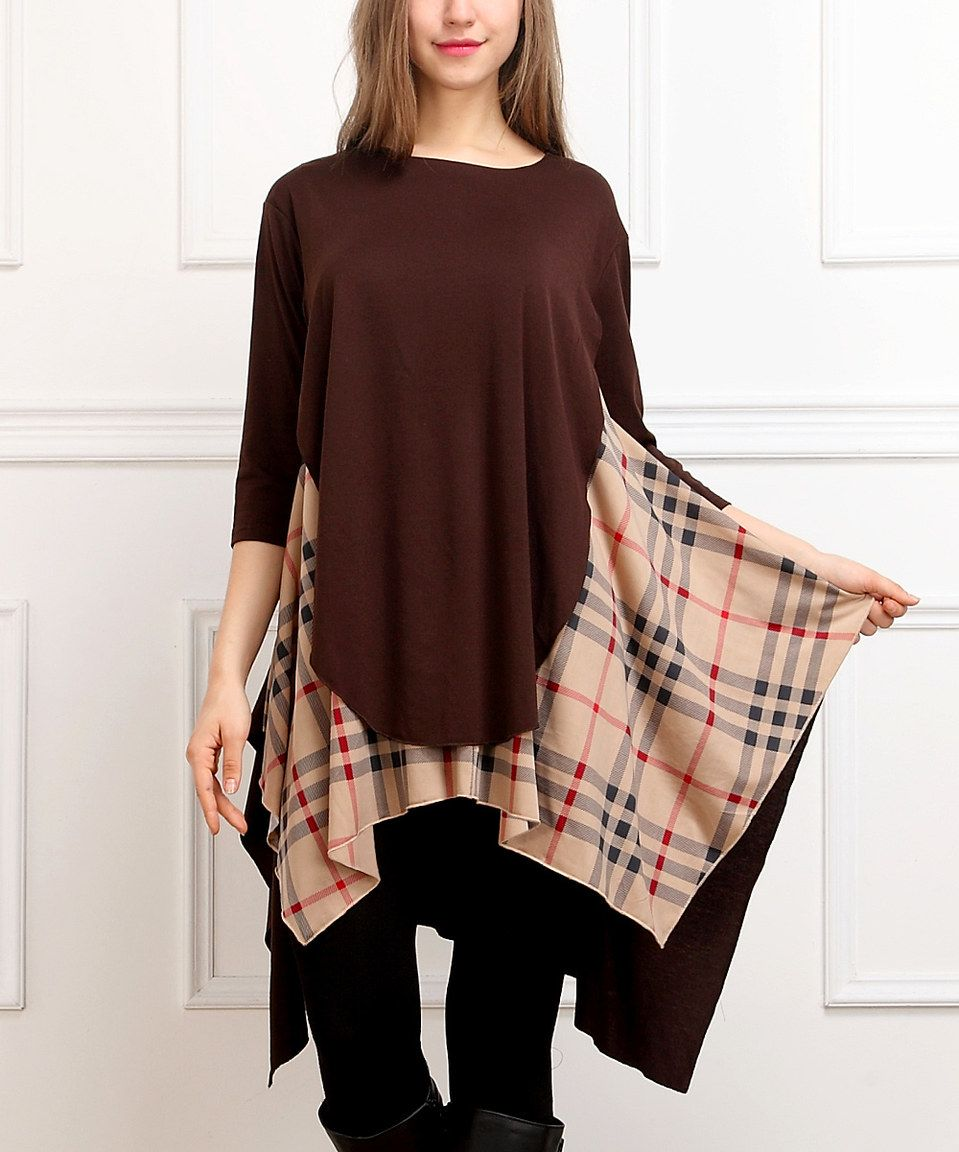 Loving this Brown & Beige Color Block Sidetail Tunic on #zulily! #zulilyfinds