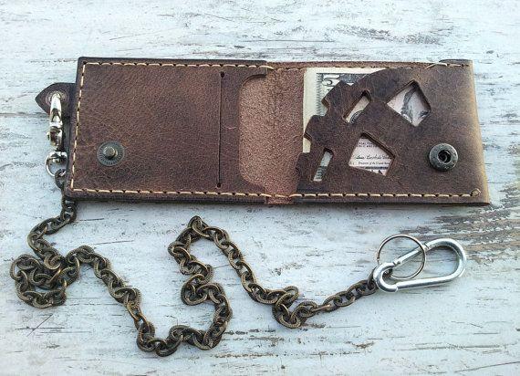 2a3b6f231e3c Steampunk wallet man, Chain wallet \Wallets for men,Biker chain ...