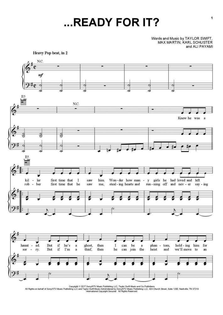 Taylor Swift Ready For It Easy Piano Pop Sheet Music Notes