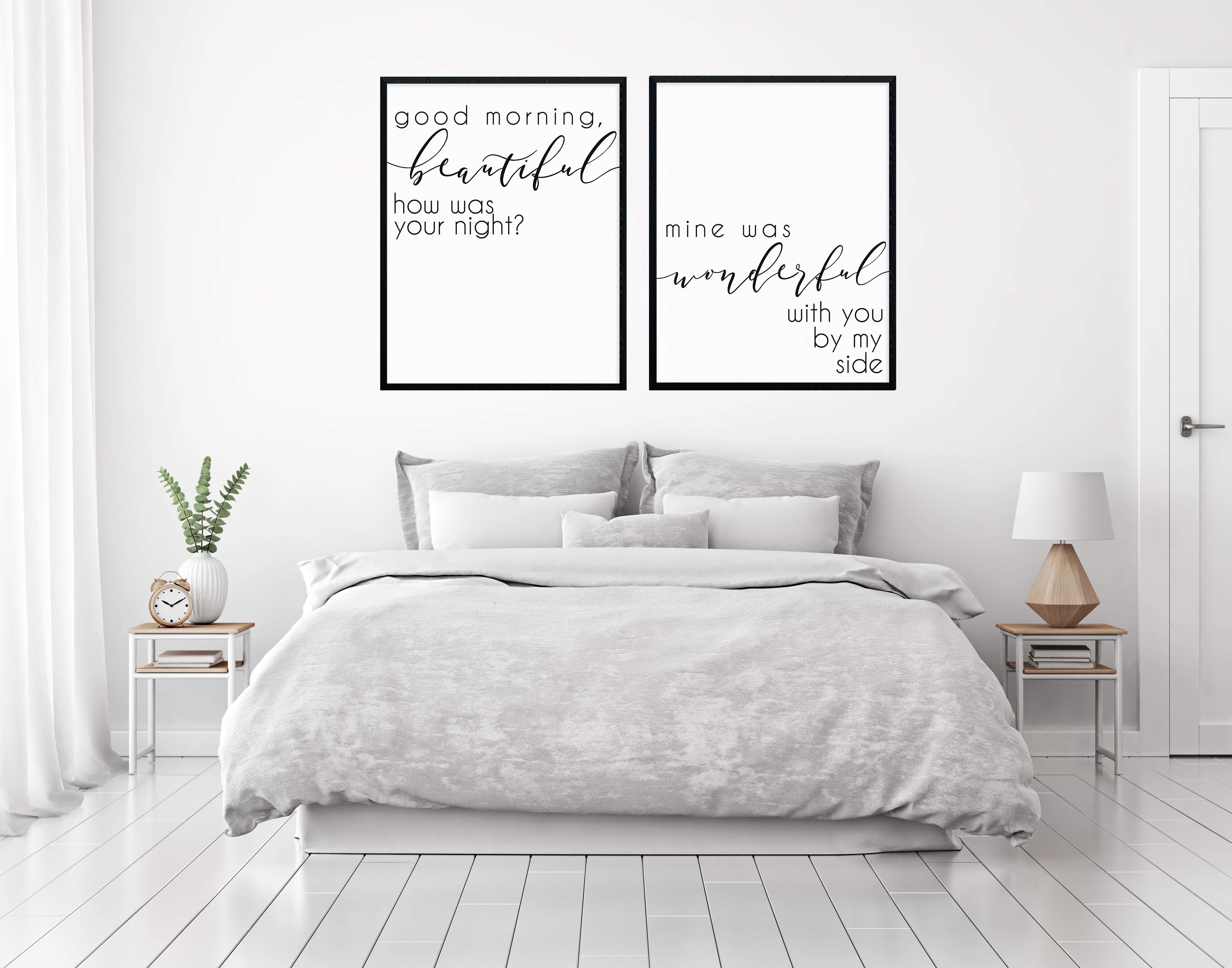Couples Bedroom Sign Printable Wall Decor Good Morning Beautiful