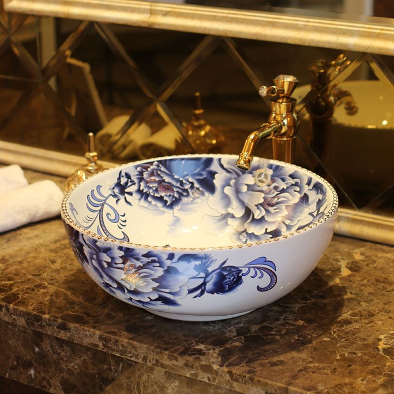 Europe Vintage Style Ceramic Art Basin Sinks Counter Top Wash