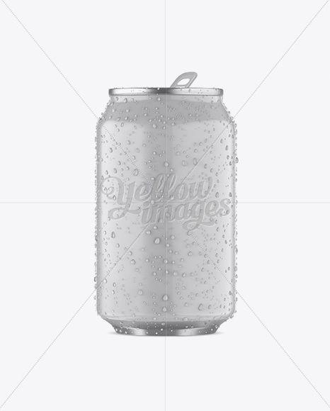 330ml Aluminium Can W/ Condensation & Matte Finish Mockup - Front View