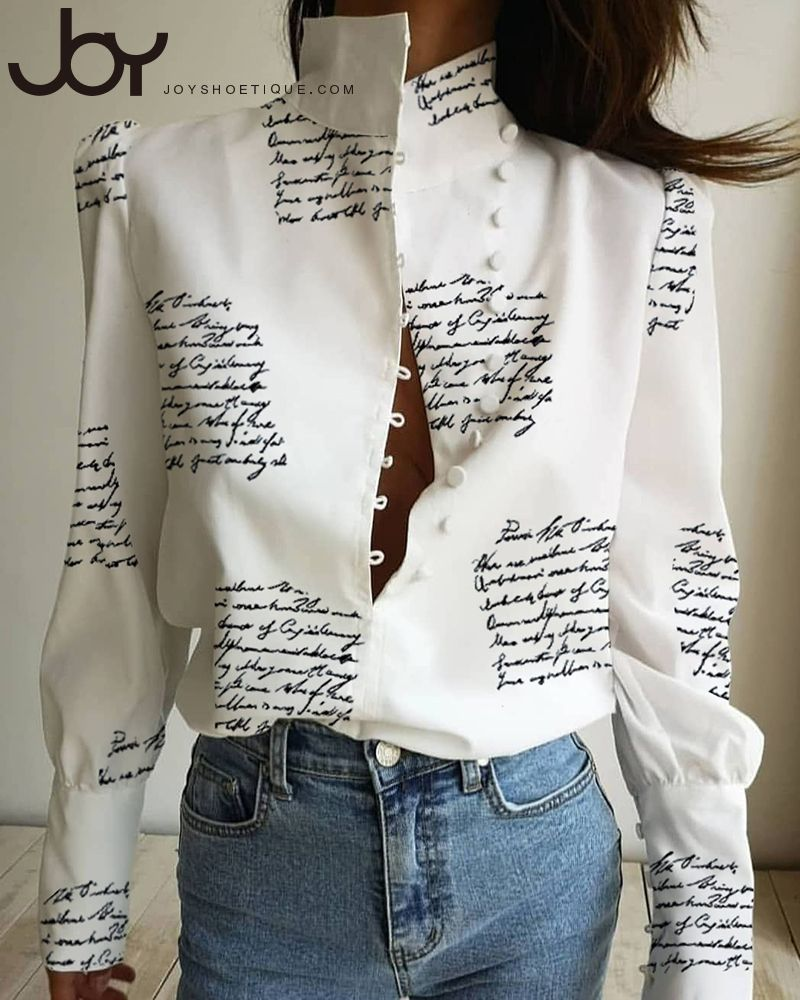 Stand Neck Letter Print Buttoned Shirt 3