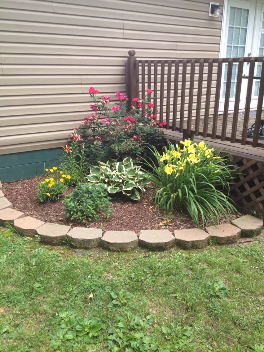 Pin On Back Yard Backyard landscaping flower bed ideas