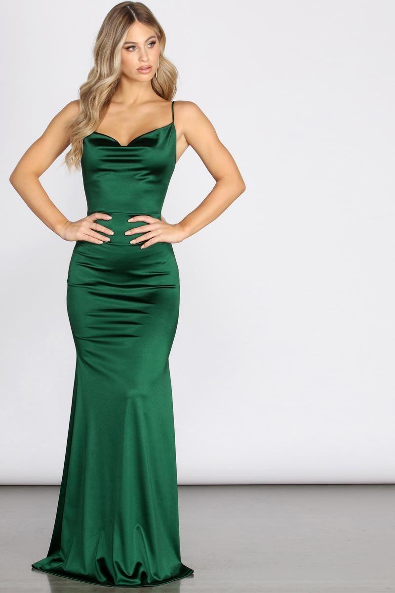 Nala Cowl Neck Satin Dress In 2020 Green Prom Dress Green Satin Dress Emerald Green Prom Dress