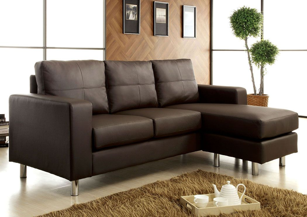 Avon Dark Brown Leatherette Sectional,Furniture of America