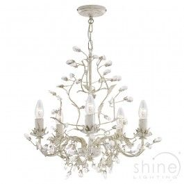 Traditional Multi Arm Chandelier With Leaf & Crystal Glass Decoration. 2495-5CR Almandite Searchlight.Traditional multi arm chandler.  Cream and gold finish with leaf and crystal glass decoration.  5 x 60w SES Lamps (Not Included)  Overall Height: 100cm  Fitting Height: 48cm  Dia: 50cm £168.96