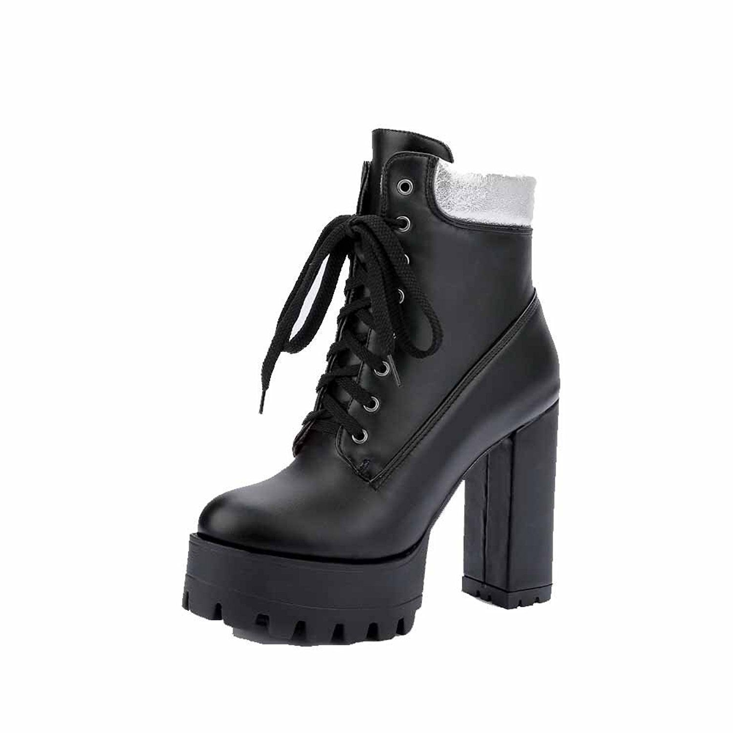 Women's Assorted Color PU High-Heels Lace-Up Round Closed Toe Boots