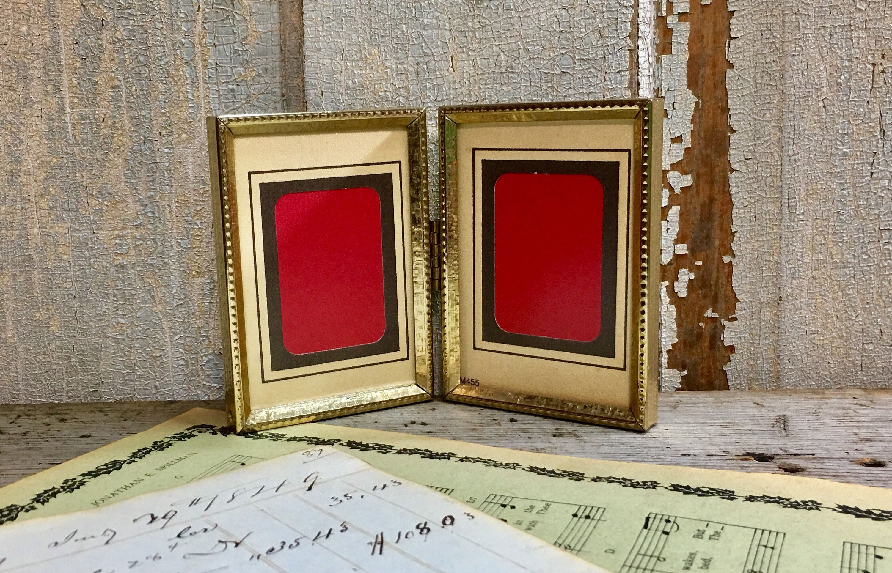 Vintage 2 12x3 12 Hinged Double Embossed Ornate Gold Metal Picture