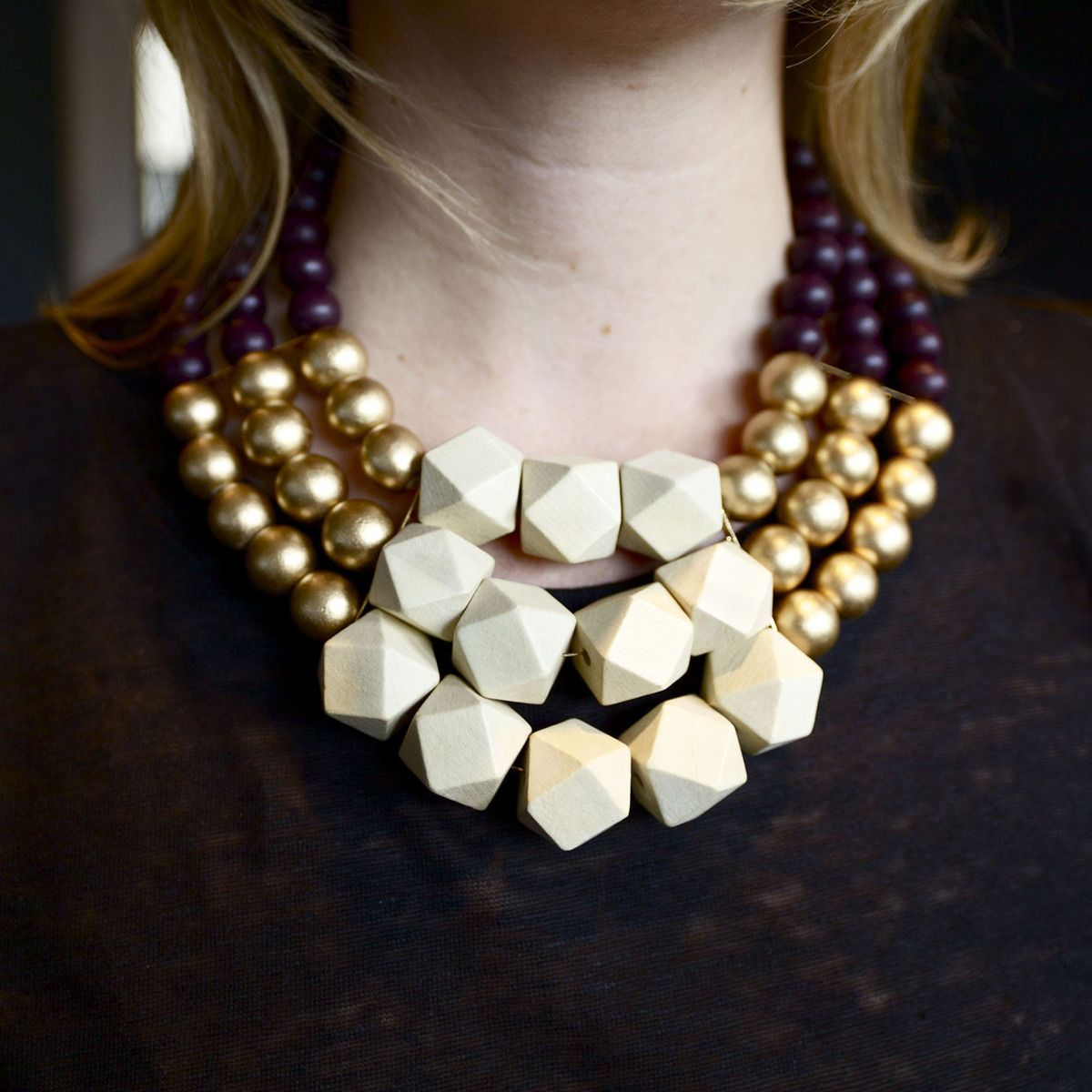 Cream wood bead necklace | My Flava | Pinterest | Bead necklaces ...