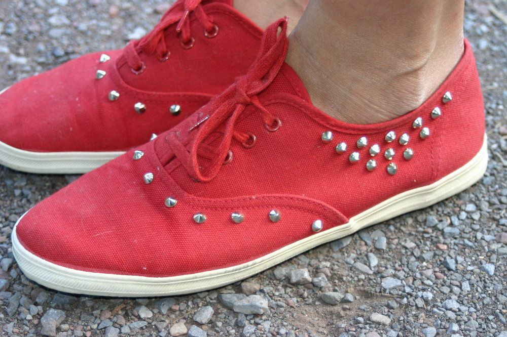 I upcycled a pair of old keds and gave them new life by adding some pointy metal studs.